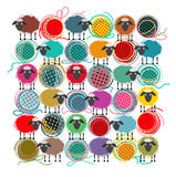 Knitting Yarn Balls and Sheep. Vector EPS 8 graphic illustration of brightly colored yarn balls with sheep. All are layered and grouped to be simply used Stock Photography