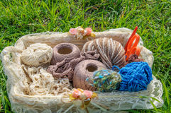 Knitting yarn in basket on green grass Stock Image
