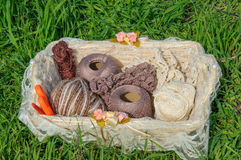 Knitting yarn in basket on green grass Royalty Free Stock Image