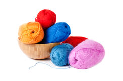 Knitting yarn in bowl, isolated on white Stock Image
