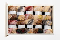 Knitting yarn in the drawer Stock Photos