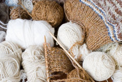 Knitting yarn and knit Stock Images
