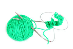Knitting yarn and  knitting needles Royalty Free Stock Image
