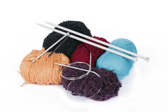 Knitting yarn and knitting needles Royalty Free Stock Photo