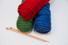 Knitting Yarn and Needles Royalty Free Stock Photos