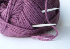 Knitting yarn and needles Stock Photos