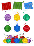 Knitting - yarn, needles, samples stock illustration
