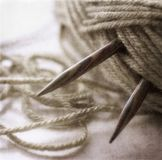 Knitting yarn and needles Royalty Free Stock Photo