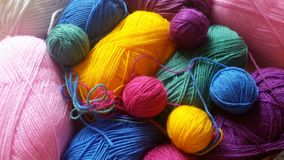 Knitting yarn in rainbow colors. Wool yarn background in vibrant rainbow colors Stock Image