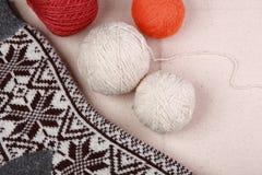 Knitting yarn and socks. Knitting yarn and ready socks royalty free stock photos