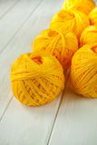 Knitting yarn rolled into ball Stock Photos