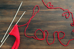 Knitting yarn with word Love Stock Images