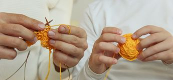 Knittins is a lifestyle family leasure royalty free stock photo