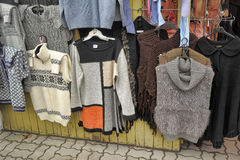 Knitwear hung for sale at flea market Royalty Free Stock Image