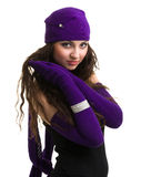 Knitwear. young woman wearing a winter cap Stock Photos