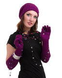 Knitwear. young woman wearing a winter cap Stock Image