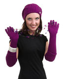 Knitwear. young woman wearing a winter cap Royalty Free Stock Photo