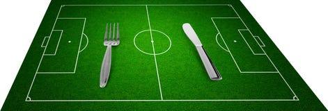 kniv för gaffel för begreppsfältfotboll royaltyfri illustrationer