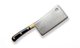 Kniv för köttköttyxa som isoleras på vit bakgrund Arkivbilder