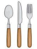 Kniv, gaffel och sked Royaltyfri Bild