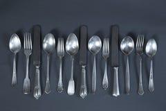 Kniv, gaffel och sked royaltyfria foton