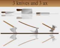 3 knivar och 3 yxa Fotografering för Bildbyråer