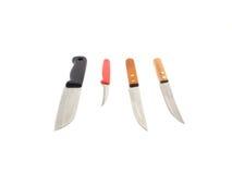 4 knivar som isoleras på vit bakgrund Arkivfoto