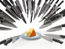 Knives attack a cheese. Competitive fight, knives attack a cheese Stock Photo