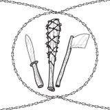Knives axes baseball wire barb bats Royalty Free Stock Photo