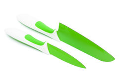 Knives with blades of green Stock Photo