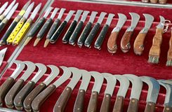 Knives and boxcutters on sale from hardware Stock Photos