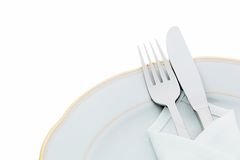 Knives, forks and plates Royalty Free Stock Images
