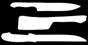 Set of Knives on black brackground Stock Photo
