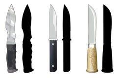 Knives_set1. Set of knives on a white background Stock Image