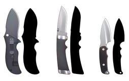 Knives_set7. Set of knives on a white background Stock Photo
