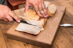 Knivskivor av bacon Fotografering för Bildbyråer