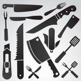 Knivsymbolsuppsättning Arkivfoton