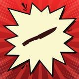 Knivtecken vektor Mörkt - röd symbol i bubbla för citronchiffongslutare på röd popartbakgrund med strålar illustration royaltyfri illustrationer