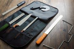 Knivuppsättning för bageri royaltyfri fotografi