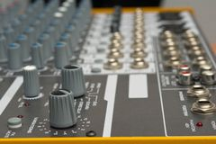 Knob. Audio console in my home studio Royalty Free Stock Photography