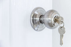 Knob locks. With keys on the door Stock Photos