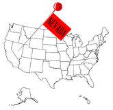 Knob Pin Nevada. An outline map of USA with a knob pin in the state of Nevada Royalty Free Stock Image