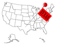 Knob Pin Texas. An outline map of USA with a knob pin in the state of Texas Stock Image