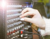 Knob, toggles the volume control to a manual tuner, manual, amplifier,. Music Stock Photography