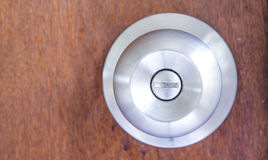 Knob on wooden door Royalty Free Stock Photography