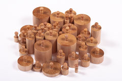 Knobbed Montessori-Cilinders Stock Foto