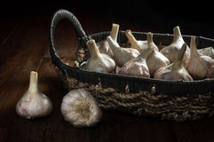 Knoblauch im Korb, Lebensmittelinhaltsstoff Lizenzfreie Stockfotos
