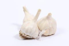 Knoblauch im weißen Hintergrund Stockfotografie