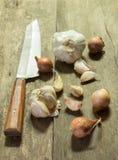 Knoblauch und Schalotte mit Messer Lizenzfreies Stockbild