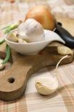 Knoblauch und Zwiebel Stockbild